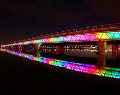 Phoenix Light Rail Rainbow! (gbrummett) Tags: arizona lake colors phoenix reflections infinity rail az fisheye canon5d lightrail phoenixarizona tempetownlake phoenixlightrail canonef15mmf28fisheyelens canoneos5dmarkiicamera grantbrummett