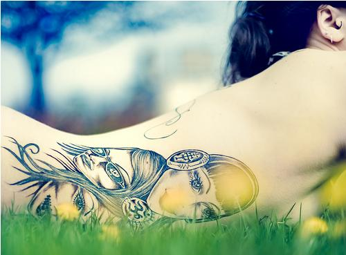 All you need is download tattoo photoshop brushes and your photo.