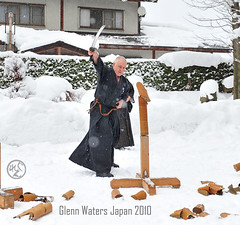 Glenn Waters. Batto with Wakisazhi. (Hirosaki Japan).  Glenn Waters. Japan Jan 3rd 2010.  Over 7,000  visits to this photo. (Glenn Waters in Japan.) Tags: winter snow man fashion sport japan temple japanese nikon shrine martialart action australian knife martialarts hakama sword samurai blade katana japon touhoku  iaido tameshigiri wakizashi  japanesetemple tsugaru batto  kenjutsu    d700 kenjitsu   glennwaters   travelsofhomerodyssey waragiri