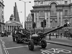 Guns On The Streets (Douguerreotype) Tags: uk gb britain british army england london bw blackandwhite mono monochrome street people artillery guns bank cheesgrater buildings soldiers gunners city urban historic ceremonial
