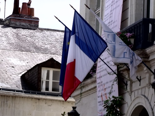 Tricolour French flag in Chinon