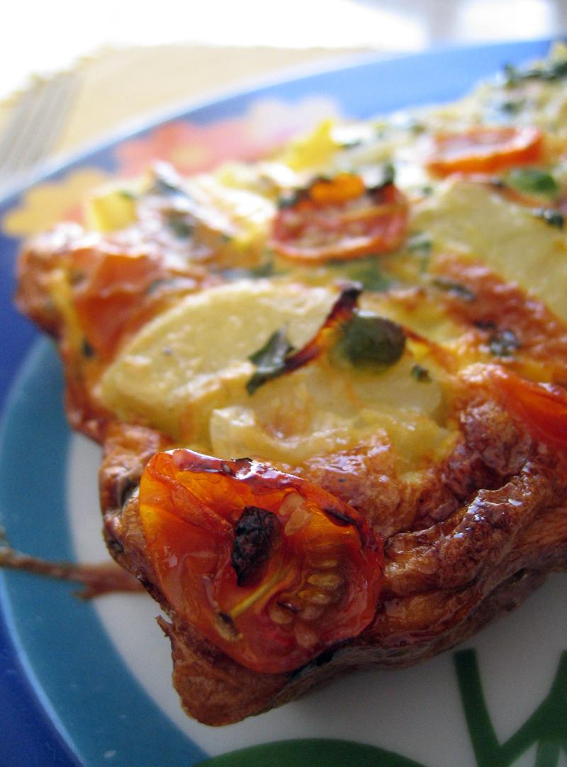 Bacon, tomato & pea Clafoutis