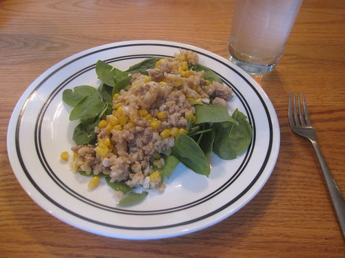 Chicken fried rice on a bed of spinach