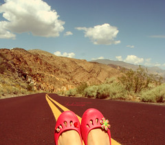 summer2009 (ShanLuPhoto) Tags: california travel red summer hot america shoes roadtrip deathvalley crocs loolooimage size40feet
