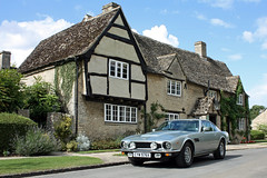An Aston in England (Rich007) Tags: uk greatbritain blue summer england sky cloud sun house building green classic home car architecture clouds silver hotel classiccar europe village unitedkingdom britain cotswolds villages tudor gb vehicle motor elizabethan 1980 picturesque saloon oxfordshire v8 astonmartin oxon cotswold minsterlovell thecotswolds autoglamma astonmartinv8 historicvehicle jubileesilver