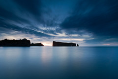 Le Rocher Perc (Dan. D.) Tags: ocean morning blue sea sky seascape landscape photography bravo long bleu exposition rocher gaspesie perce perc rocherperc alemdagqualityonlyclub