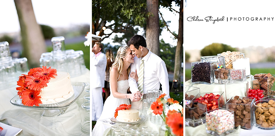 ice cream bar reception and orange daisy wedding cake cutting santa barbara wedding photography