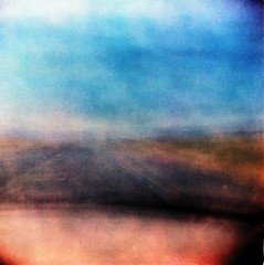 God is the Painter, the Windshield the Canvas, and the Road is the Artist's Assistant (Dead  Air) Tags: road sky sunlight abstract blur manipulated washington holga blurry driving desert atmosphere fields overexposed spirituality windshield easternwashington