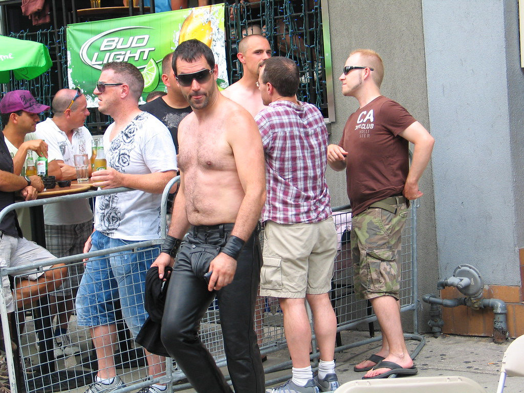 Beefy guys in leather outdoor