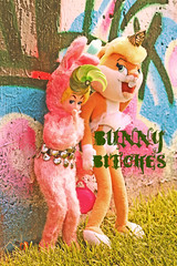 Bunny Bitches (boopsie.daisy) Tags: pink blue girls silly rabbit bunny green bunnies colors animals pose naughty skull chains funny colorful punk doll dolls grafitti badass bad smoking mean bunnyears bunnysuit skanks badmood curlers meanstreak buckteeth