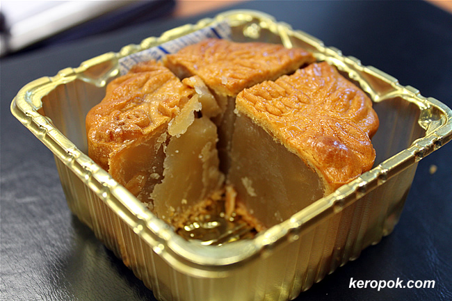 Mooncakes cut into quarters