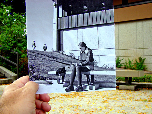 Sitting on a bench now/then