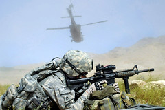 Staff Sgt. Francis Macale secures the landing zone (The U.S. Army) Tags: training military helicopter blackhawk usarmy