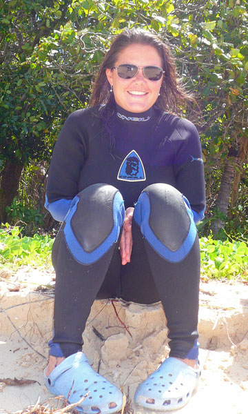 Marge wet suited up for some reef exploring