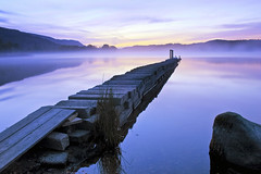 Roaming in the gloaming (Stuart Stevenson) Tags: morning autumn light mist reflection water misty fog mirror scotland early still jetty scottish stuart stevenson colourful loch gloaming lochard canoncanon300d stuartstevenson changingcolourofthelandscape