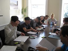 Sean, Bodo, David, Grainne, Annelie, Clive and others at the table read
