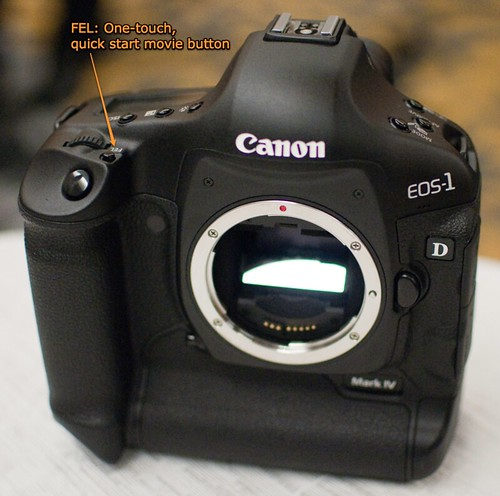 Canon 1D Mark IV -- FEL: One-touch, quick start movie button