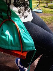 swing, let's swing (down) (kitchenkat) Tags: park plaza grass square pie foot afternoon jean legs swing sneakers pasto pony cadena piernas columpio aguamarina hamacas