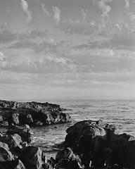 Sunset From the Shelf (GeoffreyBellPhotography.com) Tags: ocean ca bw usa mamiya film rocks kodak tmax abalonecove 100tmx nd8 ranchospalosverde