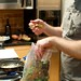 Jeff picks through a bag of fresh herbs