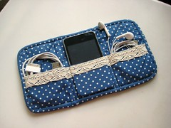 iPod/iPhone pouch-Prototype/Trial 2 (zakkaart) Tags: blue japan ipod lace polkadots pouch handphone iphone