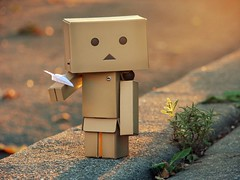 Flying a Paper Plane (willycoolpics.) Tags: light paper golden flying bokeh magic picture boring hour planes picnik danbo hbw revoltech danboard mypicturesseemtogetlamer