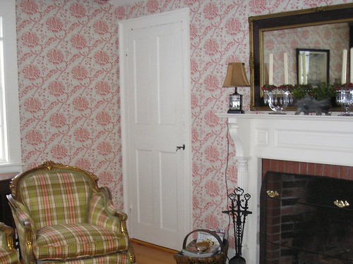 Red and White Wallpaper in Old House