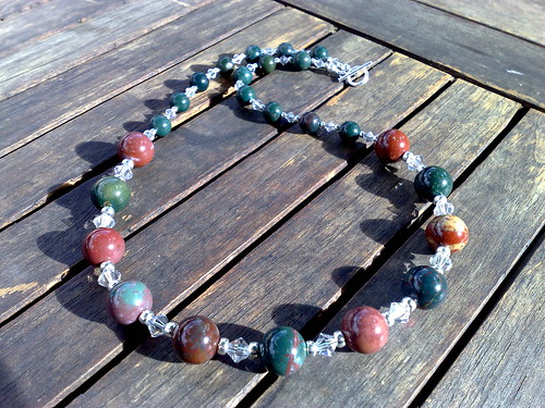 Indian bloodstone and swarovski crytal necklace