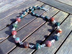 Indian bloodstone and Swarovski crystal necklace