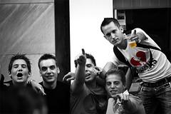 Liege - You! (cedsarlette) Tags: party music white black color guy beer blackwhite friend noir belgium belgique belgie noiretblanc you group folklore ami fete liege blanc couleur luik musique biere mec pote toi garcon vous 15aout blackwhitephotos