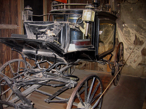 "Theater homage, ""The Black Moriah,"" hearse, Bird Cage Theater, Tombstone, Arizona"
