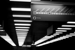roztyly 1|4 (e*v) Tags: city travel november light blackandwhite bw station sign project subway photography lights prague metro c prag praha row ceiling line rows ubahn 2009 projekt mhd b roztyly