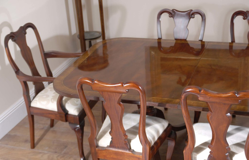 Mahogany Queen Anne Dining Chairs & Double Pedestal Regency Table furniture