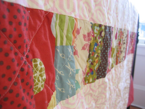 close up of quilt back