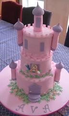 Ava's Castle Cake (Sugar Lili Cakes) Tags: pink castle cake princess chocolate fudge raspberry vanilla fondant