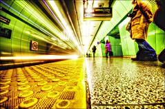 Three more stops... (Daifuku Sensei) Tags: toronto station subway nikon ttc platform lighttrails stpatrick speeding hdr d300 sigma1020mm honkhonk singleexposurehdr