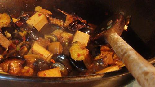 Smokey tofu aubergine aubergine cooking