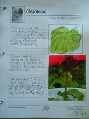 Geranium Notebook Page with Photo