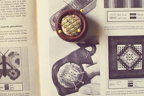 vintage craft: needlepoint pincushion