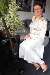 Dressed like a millionaire´s wife... (Rikky_Satin) Tags: satin silk blouse skirt highheels sandals gold white glamorous shiny fashion feminine femboi enfemme elegance crossdresser transvestite transgender strict