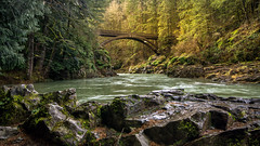 Moulton Falls Bridge (writing with light 2422 (Not Pro)) Tags: moulton falls bridgemoulton bridgelewis riverwashington staterich borderlandscapesony a77riverrocksvolcanic rock moss