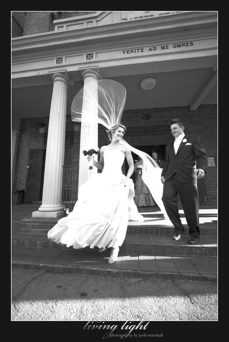 Veil blowing in the wind. Sacred Heart Cathedral, Hamilton. Newcastle wedding photography.
