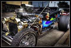 1923 Ford Model T Riffic (Cygnus~X1 - Visions by Sorenson) Tags: auto summer usa classic ford car canon eos automobile fb indiana explore hotrod vehicle monticello frontpage 2009 hdr modelt 1923 blower courthousesquare whitecounty 50d 3exp efs1755mmf28isusm craigsorenson 468ci classiccarsandtrucks cruisedaytuesdays lonniebusinger 1923fordmodelt chevy468ci 20090715072006z