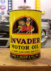 Invader (Atomic Western) Tags: vintage graphic antique can gas oil knight invader petrol collectable