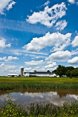 Clouds over Kerr's Farm (nosha) Tags: blue summer sky nature water beautiful beauty clouds rural reeds landscape newjersey pond nikon pattern farm nj july silo mercer f80 2009 korn kerr mercercounty kerrs lightroom 18mm blackmagic nosha 0ev 18200mmf3556 1500sec nikond40 kerrsfarm kornstand 1500secatf80 ul20090719