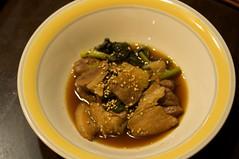 豚バラ肉とホウレンソウのはちみつ山ぶどう酢仕立て