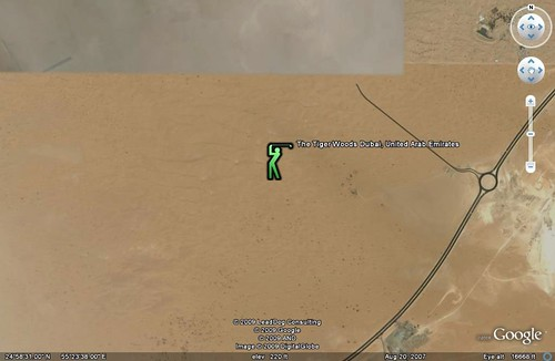the location of the Tiger Woods Dubai golf club (2007 image by Google Earth; placement indicator by me)