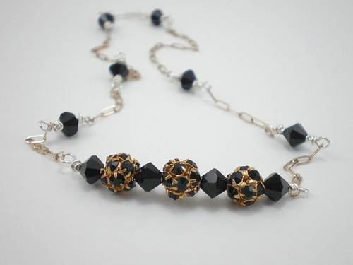 Sterling silver, gold filled, jet black Swarovski crystal bicone and round necklace