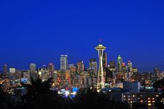 Seattle After Dark (roger reyes) Tags: seattle longexposure cityscape nightshot tripod spaceneedle kerrypark nikkor50mmf18 d300 flickraward nikonflickraward