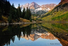 Maroon Bells and Maroon Lake (Robin-Wilson) Tags: maroonbells 387 aspencolorado explored colorphotoaward oneofamillion worldtrekker oryoucantgetaspot isinmypicture bethereat530am excusemeyourelbow tpslandscape tpsnature tpscolorado